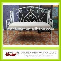 garden supplier wholesale white bench chair metal leg garden bench