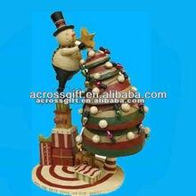 Decorative resin christmas tree with snow man