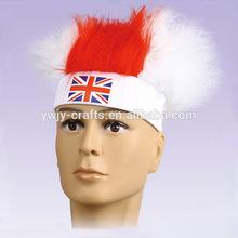 Wholesale Custom Flag Colors England Fan Wigs Sports Wigs