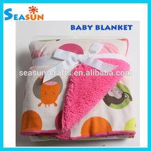 OEM Animals print micro mink sherpa blanket for babies