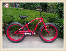 Red color 26''*4.0 fat tire cruiser bicycle/aluminum fat sand bike snow bike/2014 new aluminum frame cruiser bike fat bikes