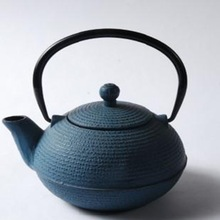 Vegetable Oil & Enamel Blue Cast Iron Tea Kettle