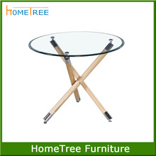 tempered glass top three legs dining table