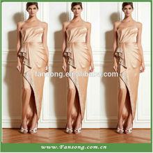 Floor-length Strapless Satin Open Leg split Gold Satin Long Sexy Evening Dress
