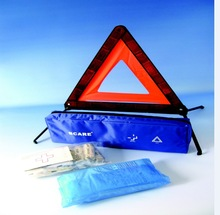 car, truck, bicycle emergency kit 2 in 1 meet DIN13164 with triangular warning,CE, ISO, TUV