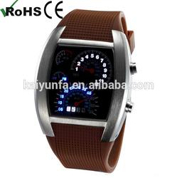 LED Light Steel Case Aviation Speedometer watches men sport Wrist watch