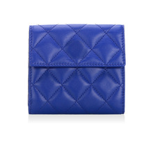 low MOQ30 OEM fashion soft leather wholesale purses elegant grid genuine sheepskin short leather ladies cute wallet