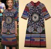 2014 Newest Women's Fashion Half Sleeve High Quality Vintage Print Runway Summer Dress HA1405A