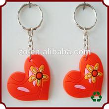 custom high quality heart shaped soft pvc keychains