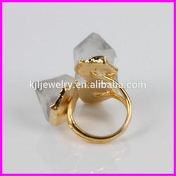 KJL-BD5090 Hot style! Natural crystal druzy quartz three gemstone ring