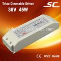 De salida 45w 36v 1.25a constante de voltaje regulable triac ca/dc conductor del led