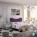 el diseño único de color púrpura de la cama cabecero tallado de madera de la cama