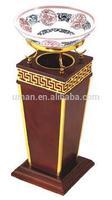 Wooden hotel indoor trash bin with ceramic ashtray pot