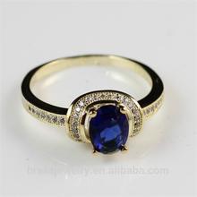 Yiwu Hot Sale Blue Zircon New Design Gold Finger Ring