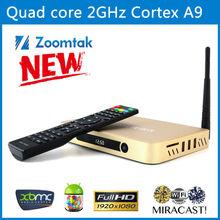 2014 Best New Arrival Zoomtak All Aluminum Amlogic S802 Android Quad Core TV Box 4K 8 Core Mali-450 GPU 3D Google Android 4.4