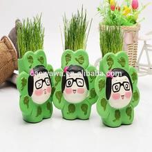 Venda muito quente boutique DIY planta bonsai boneca, Menina bonita grama homem do cabelo da planta