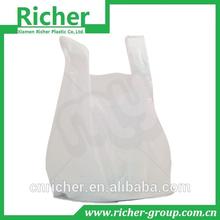 white transparent biodegardable plastic t shirt bag