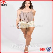 Mocha swing crop cheap clohing/wholesale cheap women clothing manufacturers