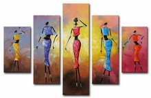 5 Group abstract African paintings of people on canvas for sale