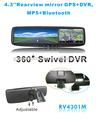 4.3 pulgadas espejo retrovisor coche Multi-función con GPS DVR Bluetooth Cámara