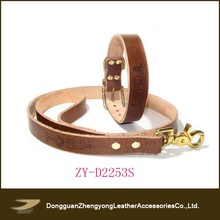 Brown top quality leather dog collar and leash strap ,gold clasp buckle dog leash