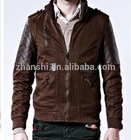 Latest Design Autumn Winter Fashionable Plain Padded Men's Denim Jacket Leather Sleeve
