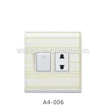 colored 1 gang 2 flat pin wall socket switch