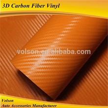 air bubble free quality 1.52*30m size orange carbon fiber vinyl /3D carbon fiber vinyl film/3D sticker for car