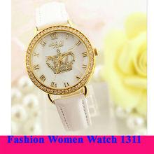2014 Most Popular Fashion women wristwatch diamon vogue watch with queen crown1311