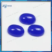 Machine cut glass stones 7x9mm oval shape cabochon flat bottom light purple jade glass gemstone /sapphire stone price