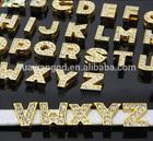 8mm 10mm rhinestone alphabet gold slide letter,diamante slider