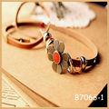 2014 de moda de la joyería hecha a mano vintage encanto vintage retro flor pulsera de cuero al por mayor