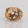 Antique jewelry domed design badam shape decoration diverse two tone topaz and white rhineston fake saudi gold jewelry ring