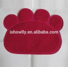 RED color Pet Paw shape print litter mat for cats/PVC mat/vinyl cushion floor mat 45x60cm