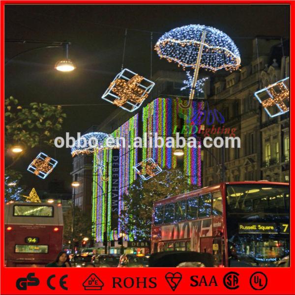 natale in strada decorazione led luci motivo ombrello 3d