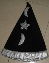 Black wizard witch hat with star moon logo for Halloween