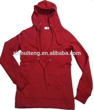 v neck royal red pockets blank pullover wholesale custom female hoodies
