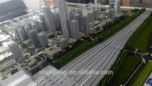 3D plexiglass building model of railway station regional planning