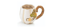 Alibaba express cute hand painted grace ceramic Pumpkin Shape Coffee Mug/cup Great gift for Thanksgiving day