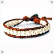 Greek Leather Freshwater Pearl Bracelet For Women
