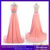 High Quality Light Pink Sheath Halter Backless Beaded Floor Length Long Chiffon Prom Evening Dress 2014 Real Sample (AB0352)