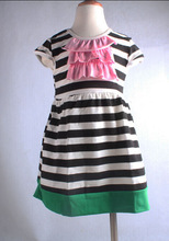 2014 New Style Organic Cotton Baby Girl Summer Dress Boutique Casual Stripe Short Sleeve Frock Designs