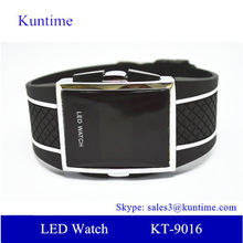 men watches with big face digital display led lights plastic button