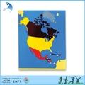 مرحلة ما قبل المدرسة التعليمية الخشبية en71 الجغرافيا المواد مونتيسوري لعبة لغز خريطة أمريكا الشمالية