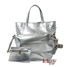 New coming, silver color purses and handbags with Rivet decoration, three bags