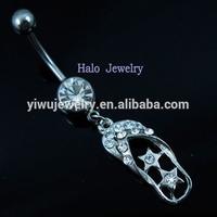 BJ0017 clear rhinestone cute shoe belly button ring body piercing kit
