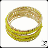 2014 wholesale new arrival sunshine yellow bangles and bracelets suit for summer health bracelet multilayer bracelet