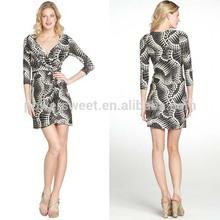 Popular Women Elegant V Neck Black And White Three Quarter Sleeve Dress