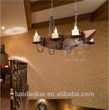 Large modern hotel vintage candles handicrafts wood pendant lamp