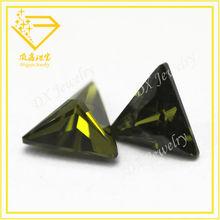 cubic zirconia machine cut, peridot/olive triangle shape cz/cz stones, rough gemstone buyers